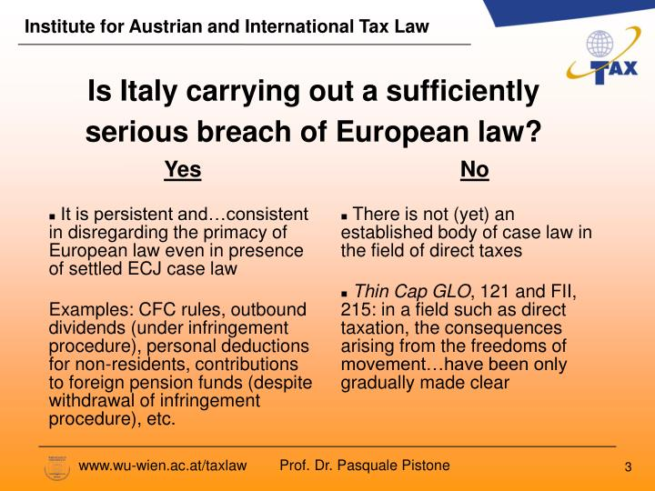 Is italy carrying out a sufficiently serious breach of european law