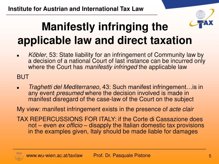 Manifestly infringing the applicable law and direct taxation