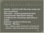 read labels and warranties