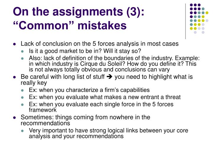 "On the assignments (3): ""Common"" mistakes"