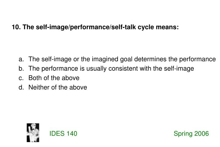 10. The self-image/performance/self-talk cycle means: