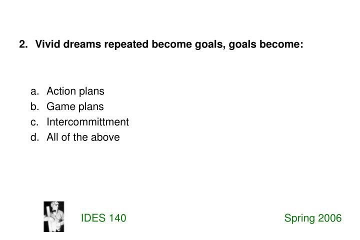 Vivid dreams repeated become goals goals become