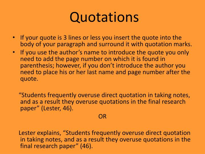 direct quotation in research paper