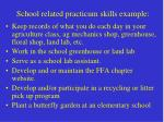 school related practicum skills example