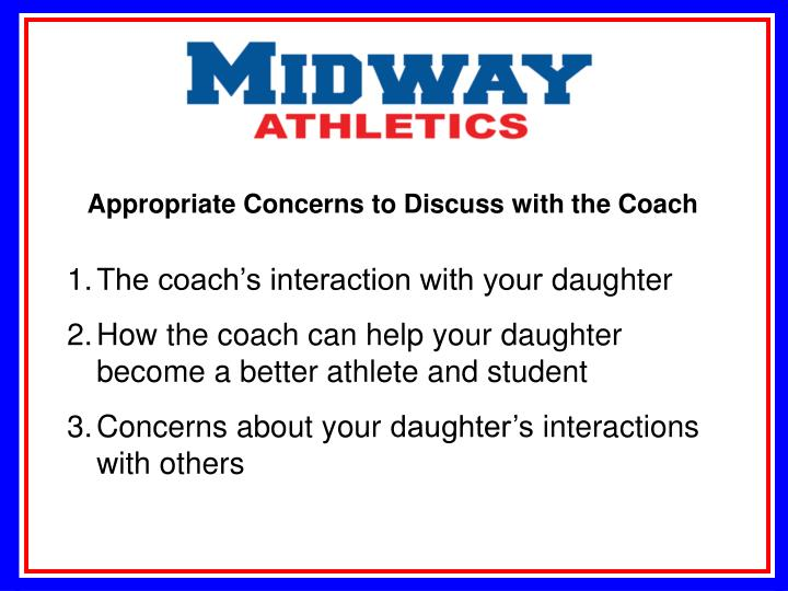 Appropriate Concerns to Discuss with the Coach