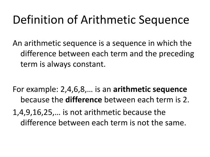 Ppt  Section  Arithmetic Sequences Powerpoint Presentation  Id