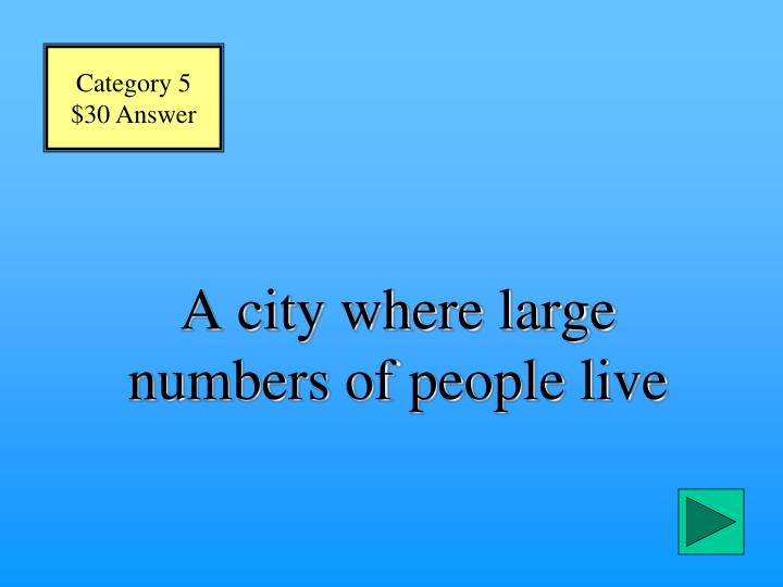 A city where large numbers of people live