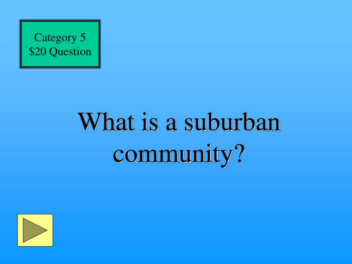 What is a suburban community?
