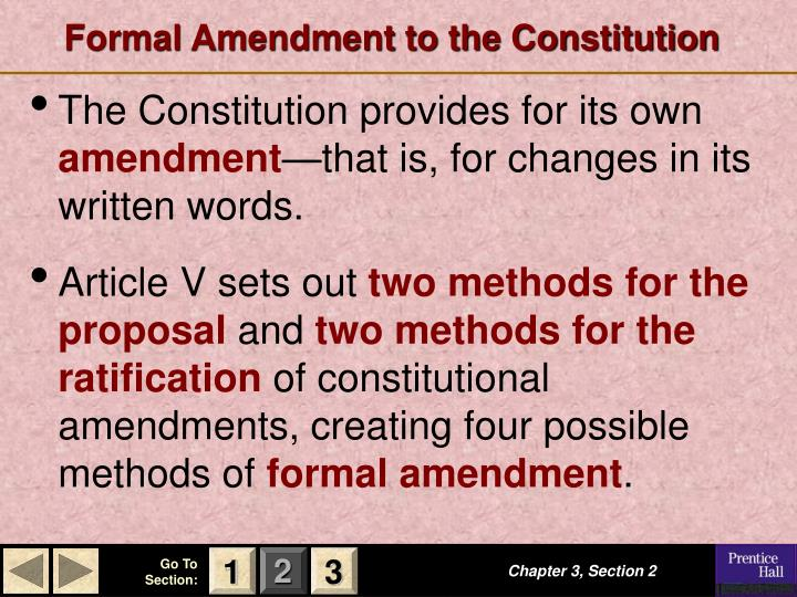 formal amendment to the constitution n.