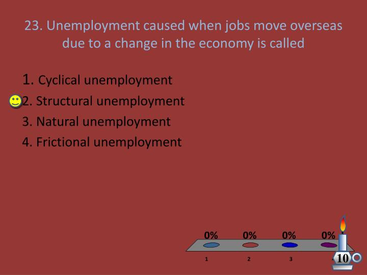 23. Unemployment caused when jobs move overseas  due to a change in the economy is called