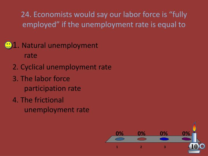 "24. Economists would say our labor force is ""fully employed"" if the unemployment rate is equal to"