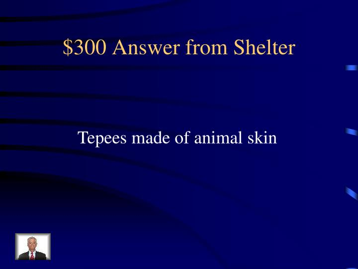 $300 Answer from Shelter