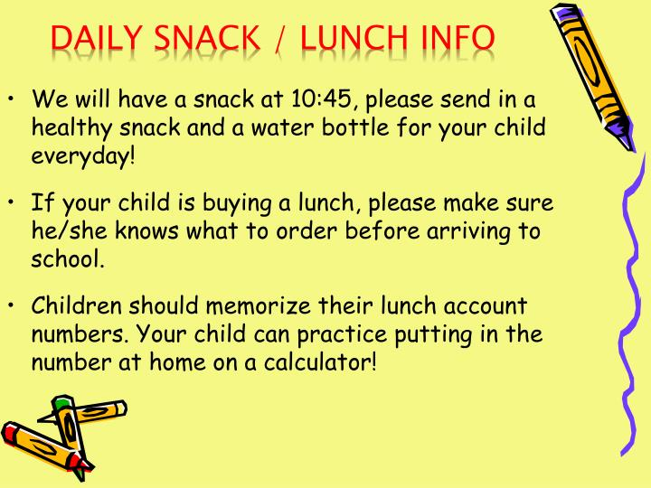 Daily Snack / Lunch Info