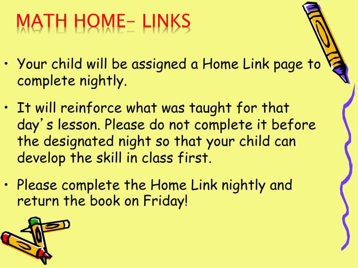 Math Home- Links