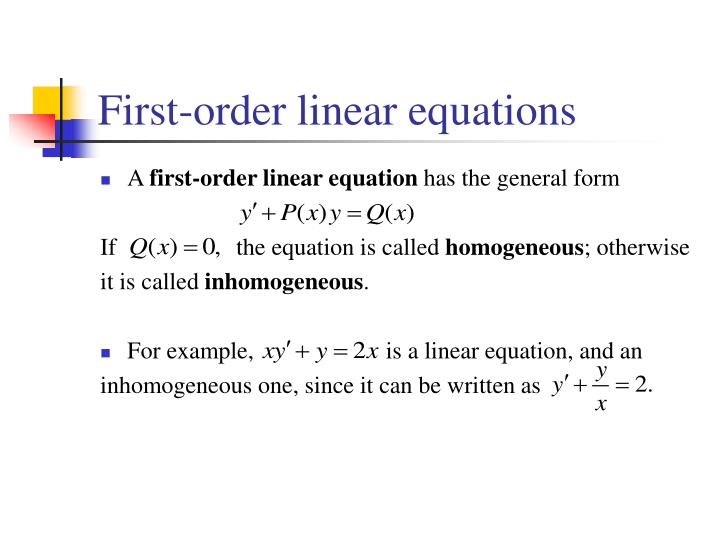 first order linear equations