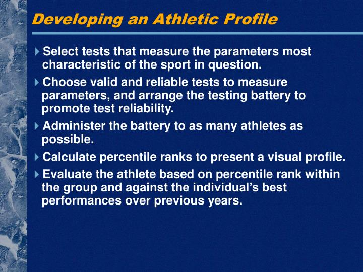 Developing an Athletic Profile