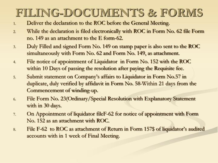 FILING-DOCUMENTS & FORMS