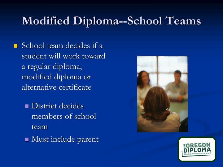 Modified Diploma--School Teams