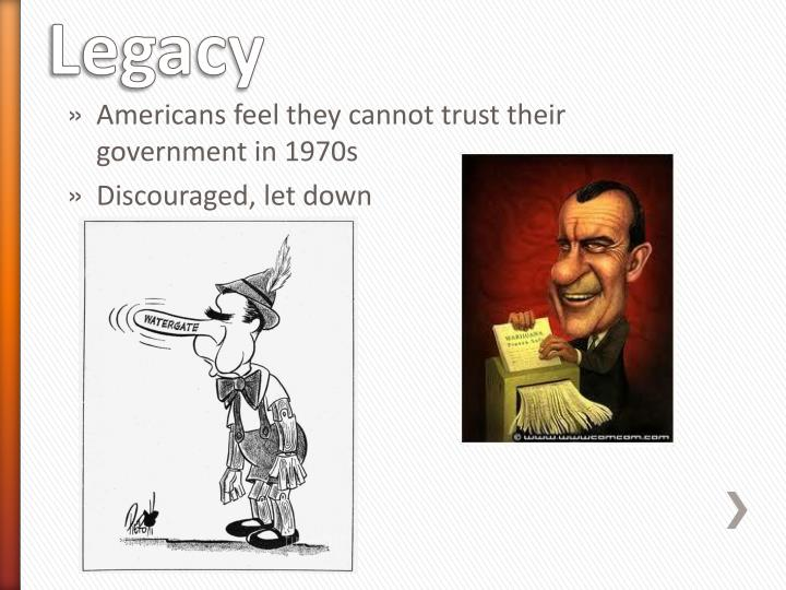 Americans feel they cannot trust their government in 1970s