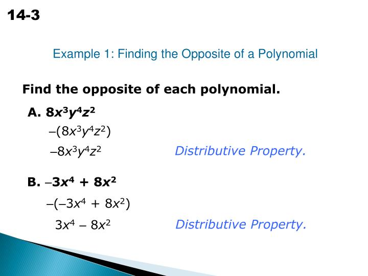 Example 1: Finding the Opposite of a Polynomial