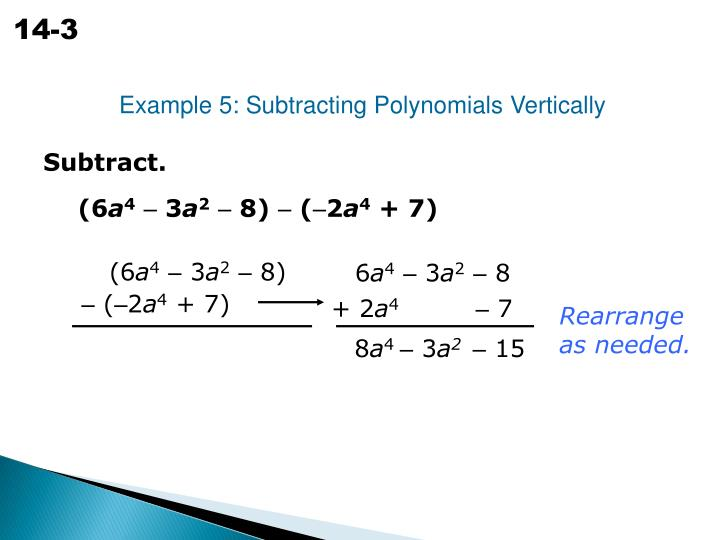 Example 5: Subtracting Polynomials Vertically