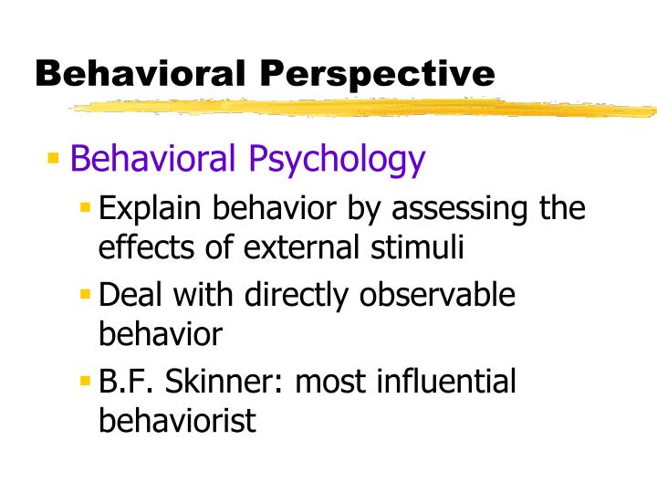 Behavioral Perspective