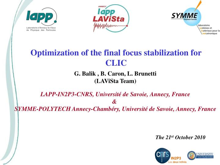 Optimization of the final focus stabilization for CLIC