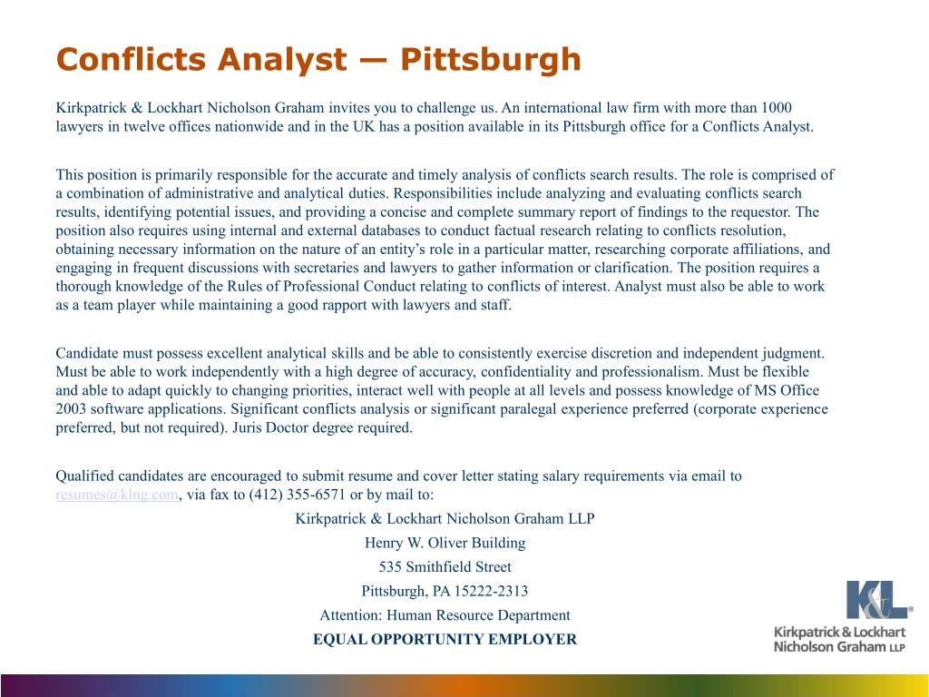PPT - Conflicts Analyst — Pittsburgh PowerPoint Presentation - ID ...