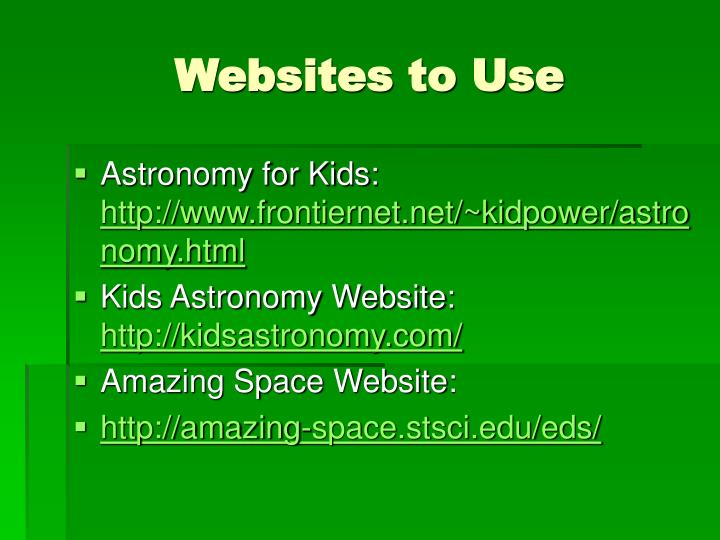 Websites to Use