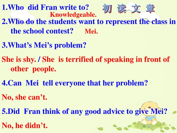 1.Who  did Fran write to?