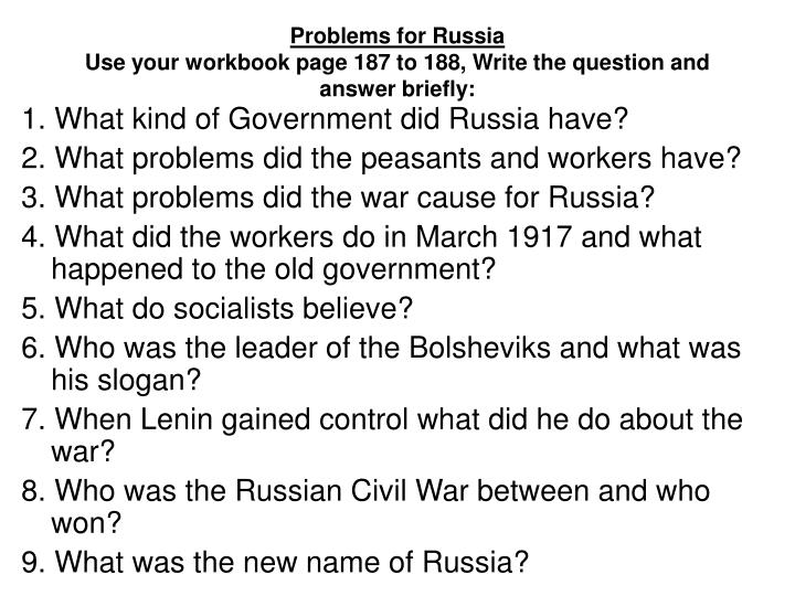 PPT - Problems for Russia Use your workbook page 187 to ...