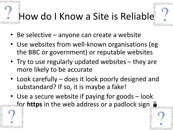 How do I Know a Site is Reliable