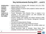 key achievements during 2011 cont d1