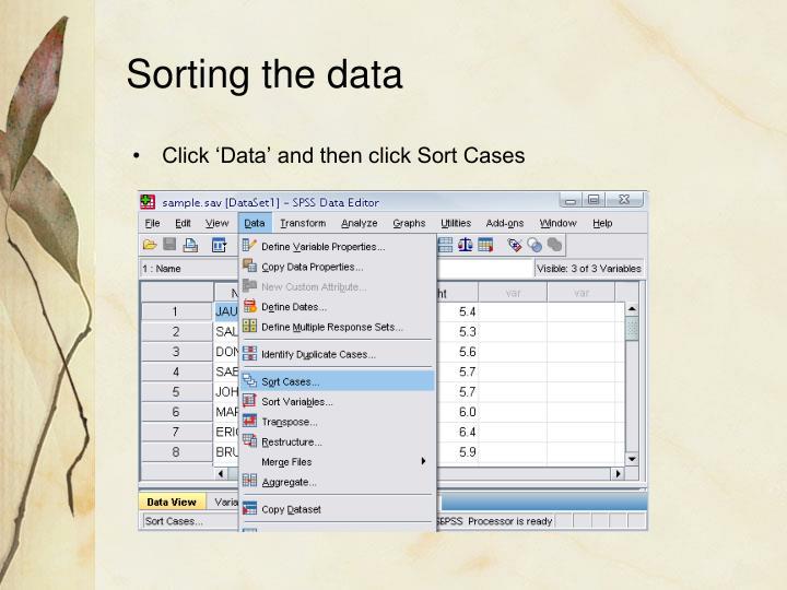 Sorting the data