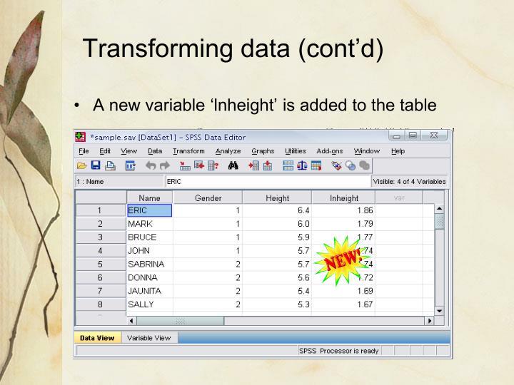 Transforming data (cont'd)