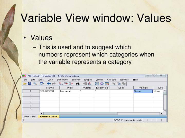Variable View window: Values