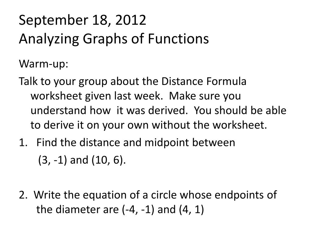 Ppt September 18 2012 Analyzing Graphs Of Functions Powerpoint