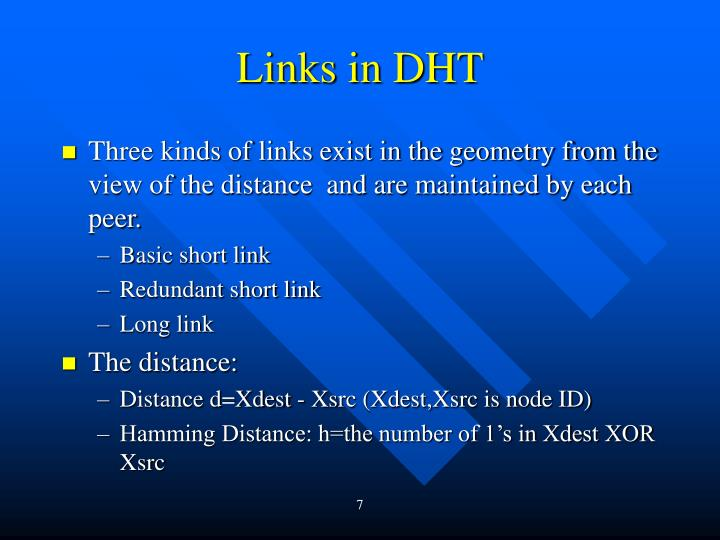 Links in DHT