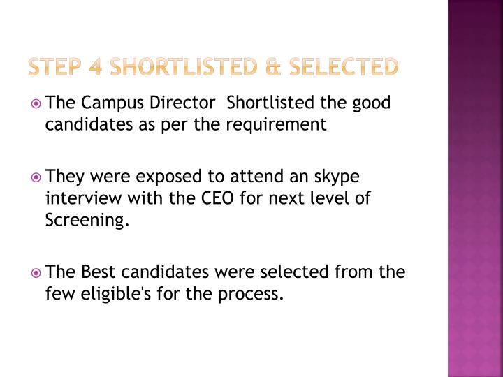 Step 4 Shortlisted & selected
