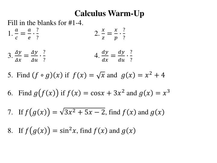 PPT - Calculus Warm-Up Fill in the blanks for #1-4  1  2  3  4  5