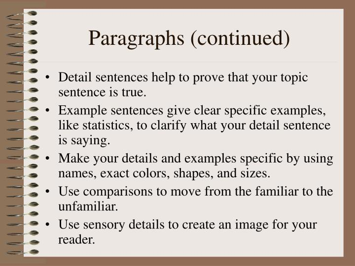 Paragraphs (continued)