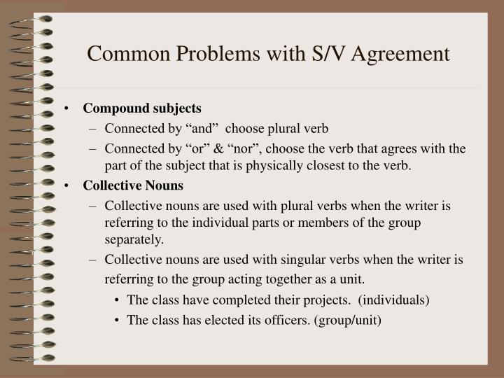 Common Problems with S/V Agreement