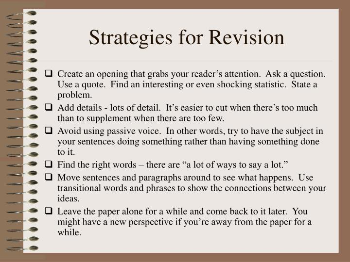 Strategies for Revision