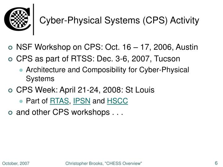 Cyber-Physical Systems (CPS) Activity