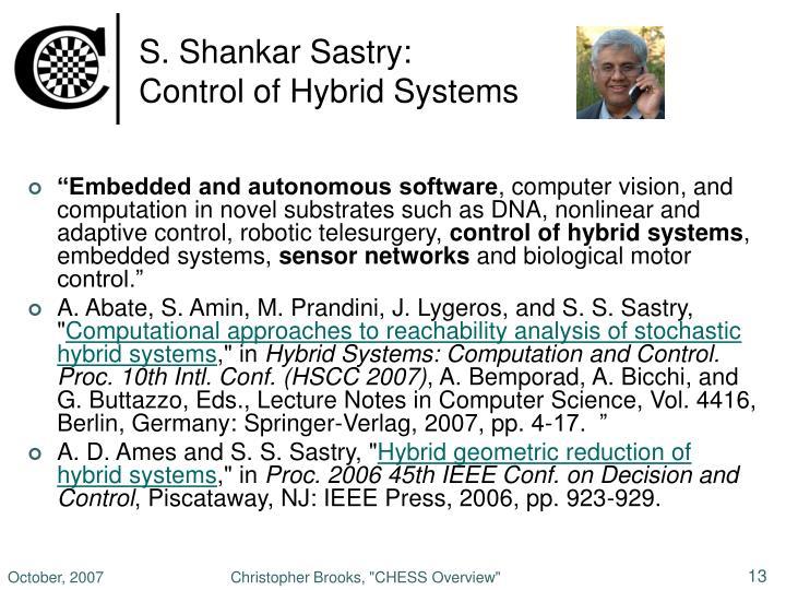 S. Shankar Sastry: