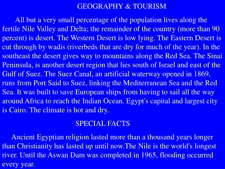 GEOGRAPHY & TOURISM