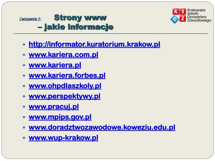 Wiczenie 1 strony www jakie informacje