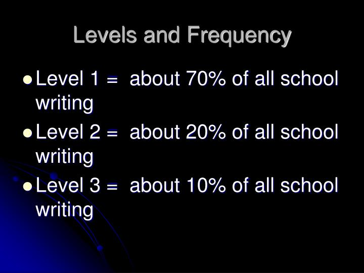 Levels and Frequency