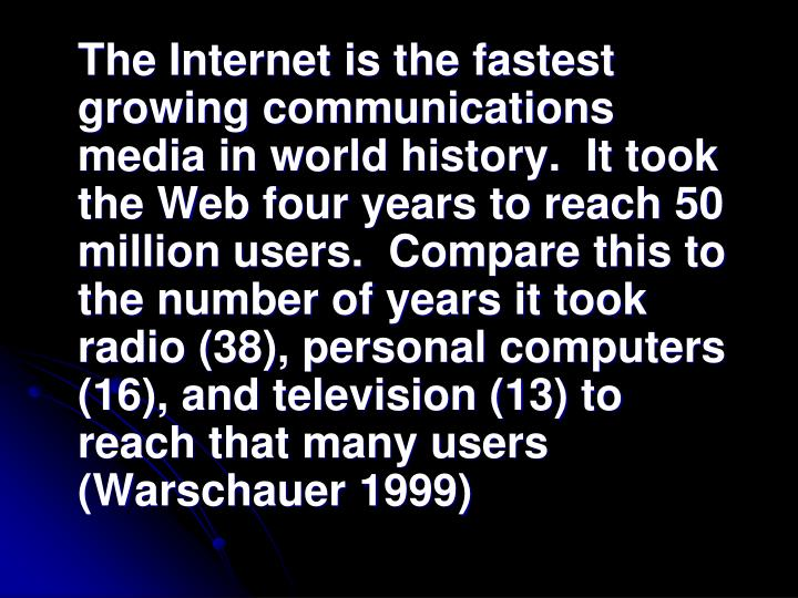 The Internet is the fastest growing communications media in world history.  It took the Web four years to reach 50 million users.  Compare this to the number of years it took radio (38), personal computers (16), and television (13) to reach that many users (Warschauer 1999)