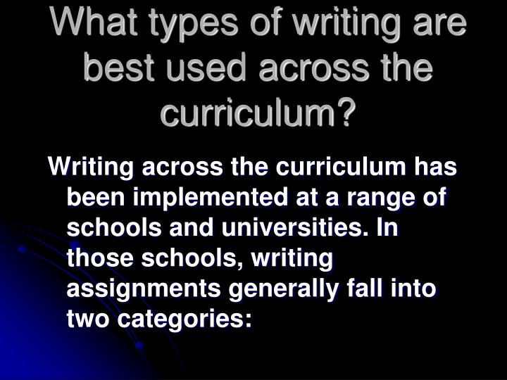What types of writing are best used across the curriculum?